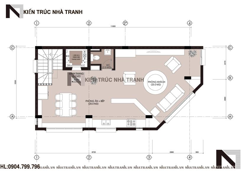 Ảnh: Mặt bằng chi tiết tầng điển hình mẫu thiết kế nhà trên đất méo 5 tầng NT-L3657