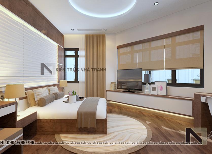 Ảnh: Phối cảnh nội thất phòng ngủ mẫu thiết kế nhà trên đất méo