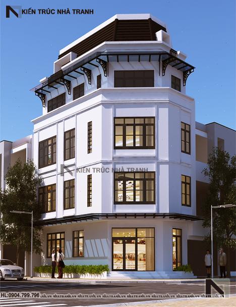 Ảnh: Phối cảnh tổng thể mẫu thiết kế nhà trên đất méo 5 tầng NT-L3657