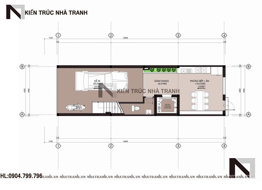 Ảnh: Mặt bằng quy hoạch tổng thể mẫu thiết kế nhà ống lệch tầng đẹp có thang máy 5 tầng hiện đại NT-L3658
