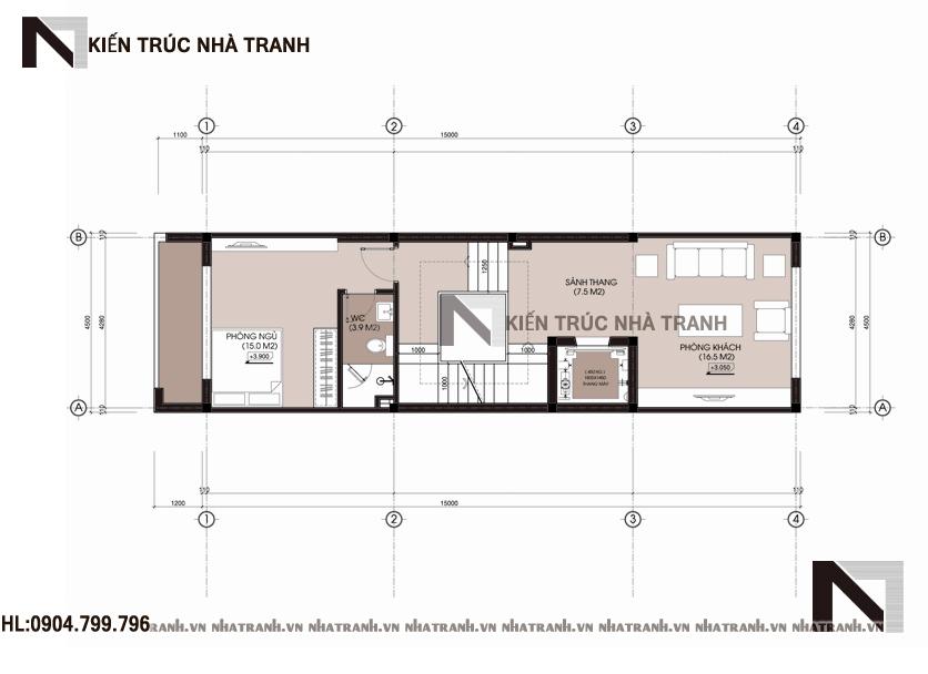 Ảnh: Mặt bằng tầng 02 mẫu thiết kế nhà ống lệch tầng đẹp có thang máy 5 tầng hiện đại NT-L3658
