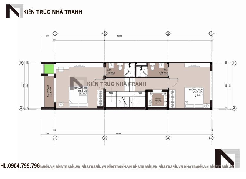 Ảnh: Mặt bằng tầng 03 mẫu thiết kế nhà ống lệch tầng đẹp có thang máy 5 tầng hiện đại NT-L3658