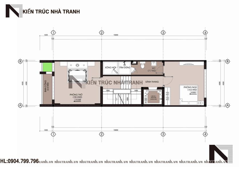 Ảnh: Mặt bằng tầng 04 mẫu thiết kế nhà ống lệch tầng đẹp có thang máy 5 tầng hiện đại NT-L3658