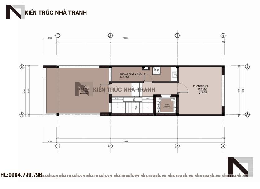 Ảnh: Mặt bằng tầng 05 mẫu thiết kế nhà ống lệch tầng đẹp có thang máy 5 tầng hiện đại NT-L3658