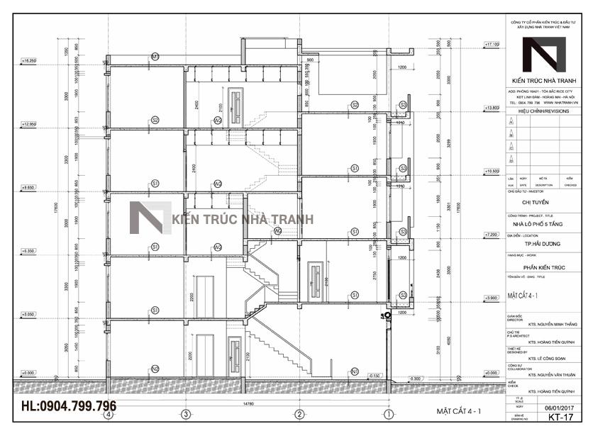 Ảnh: Bản vẽ mẫu thiết kế nhà ống lệch tầng đẹp có thang máy 5 tầng hiện đại Nt_L3658