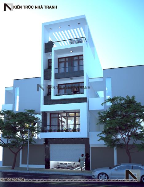 Phối cảnh tổng thể mẫu thiết kế nhà ống lệch tầng đẹp có thang máy 5 tầng hiện đại NT-L3658