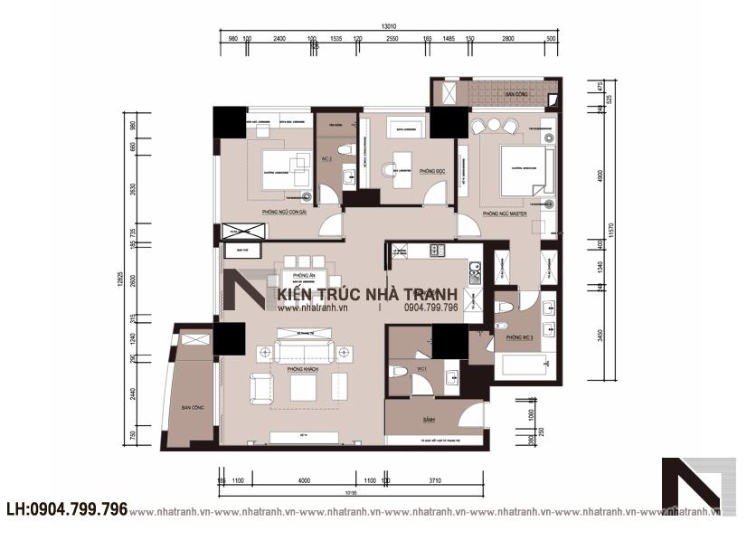 Ảnh: Mặt bằng bố trí mẫu thiết kế nội thất chung cư tân cổ điển Vinhomes Royal City NT-NC0050