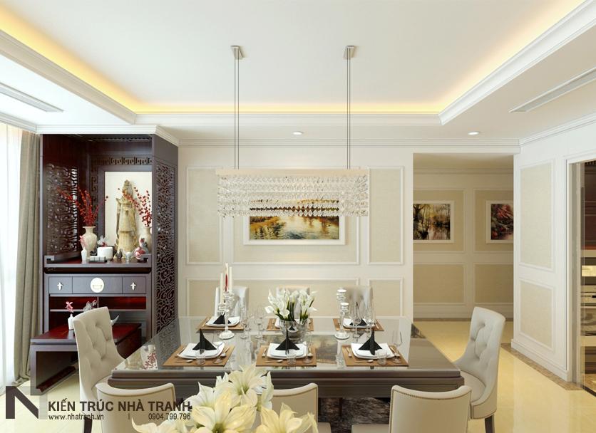 Ảnh: Phối cảnh 04 nội thất phòng khách và phòng ăn mẫu thiết kế nội thất chung cư tân cổ điển NT-NC0050