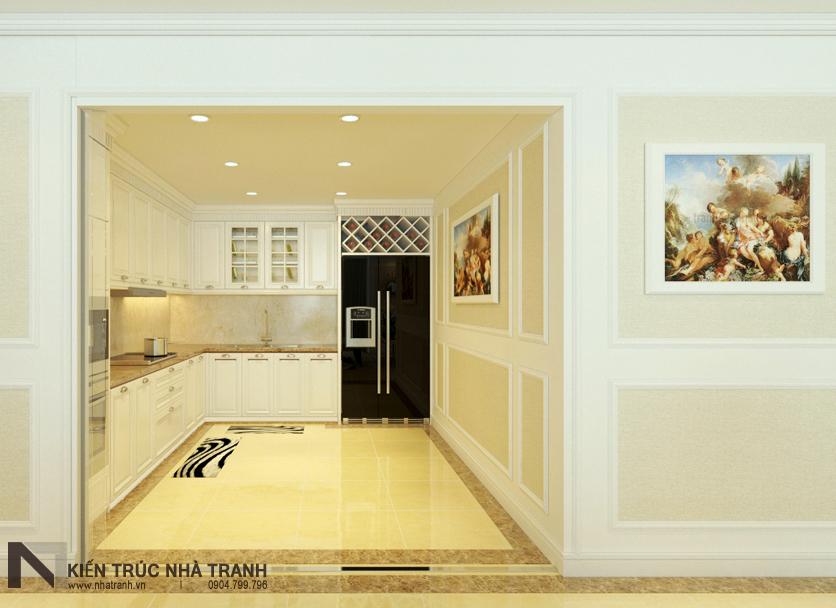 Ảnh: Phối cảnh 01 nội thất phòng bếp mẫu thiết kế nội thất chung cư tân cổ điển NT-NC0050