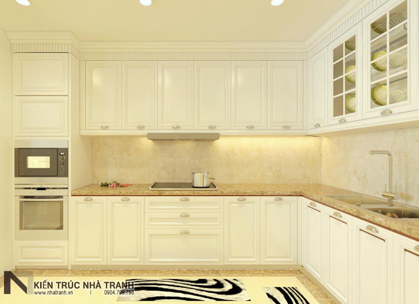 Ảnh: Phối cảnh 02 nội thất phòng bếp mẫu thiết kế nội thất chung cư tân cổ điển NT-NC0050