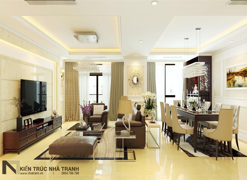 Ảnh: Phối cảnh 01 nội thất phòng khách và phòng ăn mẫu thiết kế nội thất chung cư tân cổ điển NT-NC0050