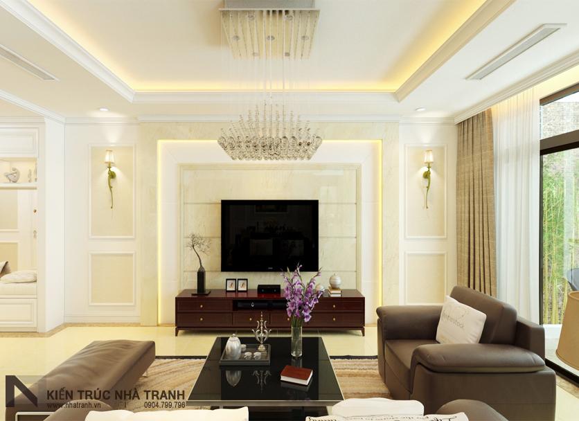 Ảnh: Phối cảnh 02 nội thất phòng khách và phòng ăn mẫu thiết kế nội thất chung cư tân cổ điển NT-NC0050