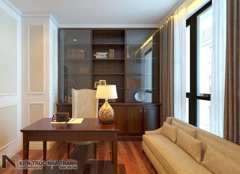 Ảnh: Phối cảnh 02 nội thất không gian phòng làm việc kết hợp đọc sách mẫu thiết kế nội thất chung cư tân cổ điển NT-NC0050