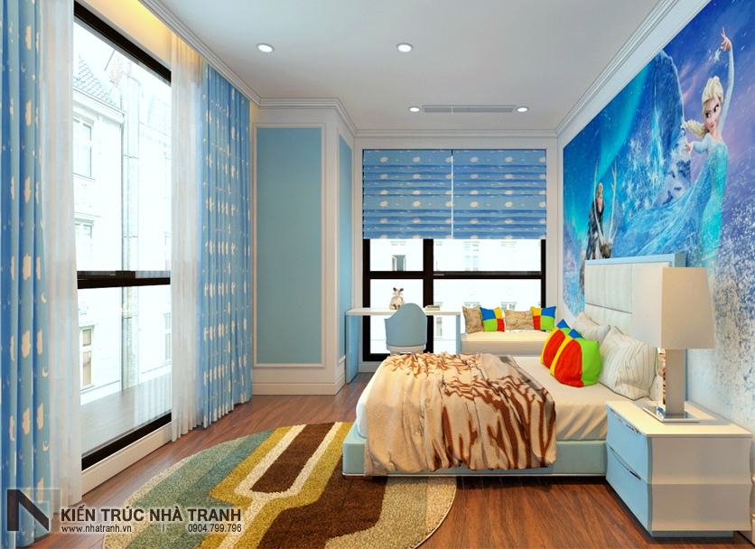 Ảnh: Phối cảnh 01 nội thất phòng ngủ con gái mẫu thiết kế nội thất chung cư tân cổ điển NT-NC0050