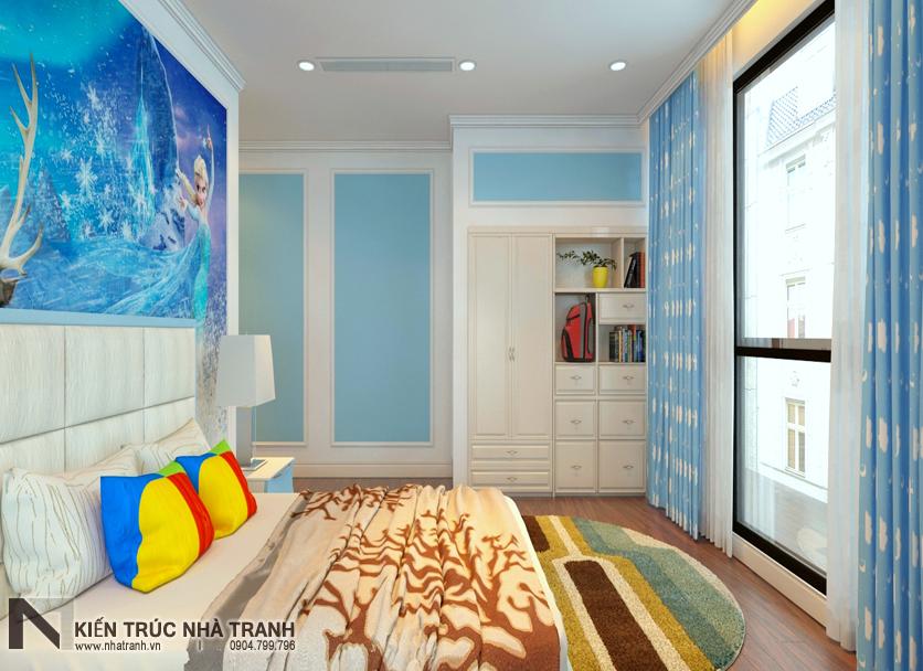 Ảnh: Phối cảnh 02 nội thất phòng ngủ con gái mẫu thiết kế nội thất chung cư tân cổ điển NT-NC0050
