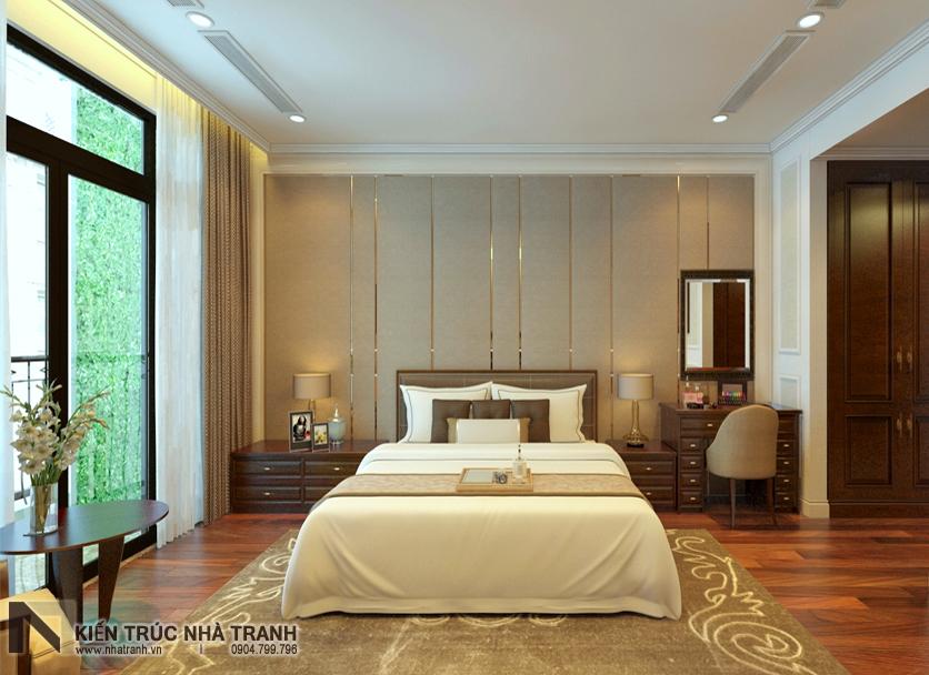 Ảnh: Phối cảnh 01 nội thất phòng ngủ bố mẹ (master) mẫu thiết kế nội thất chung cư tân cổ điển NT-NC0050