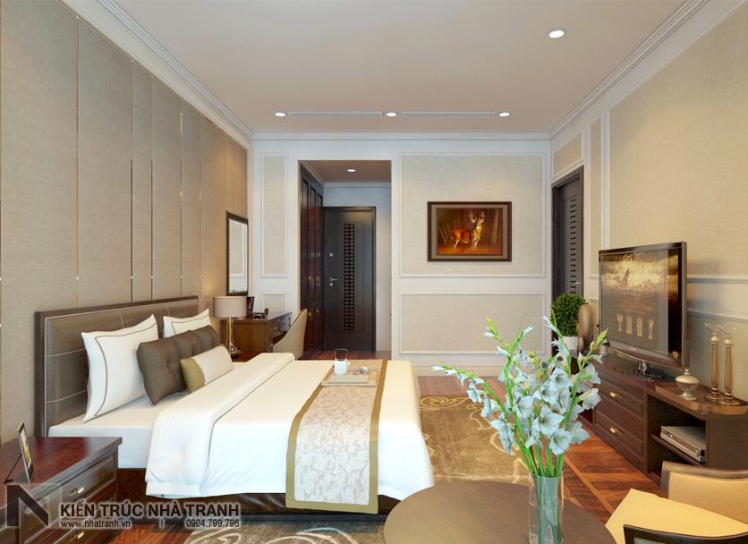 Ảnh: Phối cảnh 03 nội thất phòng ngủ bố mẹ (master) mẫu thiết kế nội thất chung cư tân cổ điển NT-NC0050