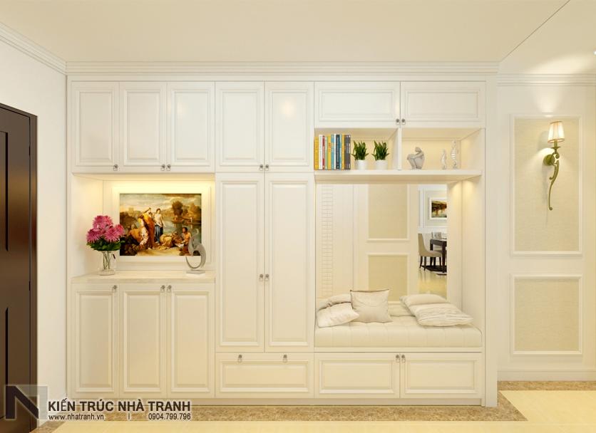 Ảnh: Phối cảnh nội thất không gian tiền phòng có tủ giày âm tường mẫu thiết kế nội thất chung cư tân cổ điển NT-NC0050