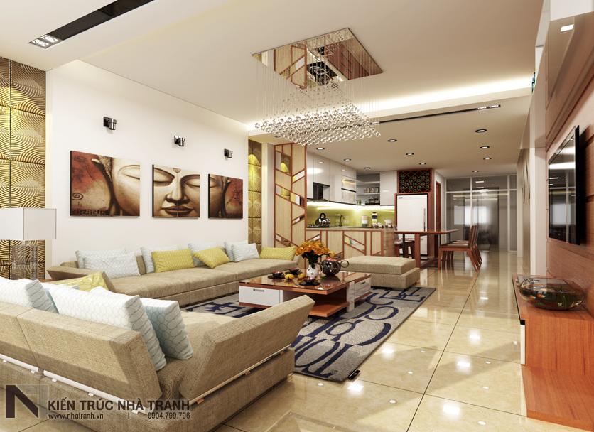 Ảnh: Phối cảnh 01 nộ thất phòng khách, bếp và ăn mẫu thiết kế nội thất nhà ống hiện đại NT-NL0051