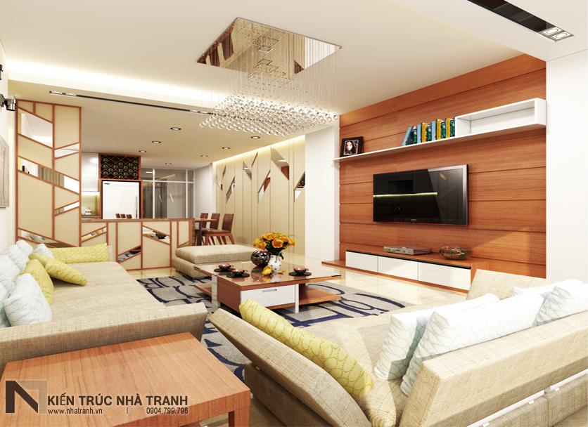 Ảnh: Phối cảnh 02 nội thất phòng khách, bếp và ăn mẫu nhà phố mặt tiền 4m phong cách hiện đại NT-L3630