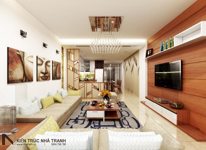 Ảnh: Phối cảnh 03 nội thất phòng khách, bếp và ăn mẫu nhà phố mặt tiền 4m phong cách hiện đại NT-L3630