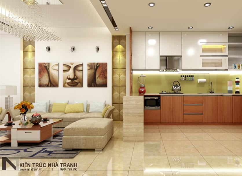 Ảnh: Phối cảnh 04 nội thất phòng khách, bếp và ăn mẫu nhà phố mặt tiền 4m phong cách hiện đại NT-L3630