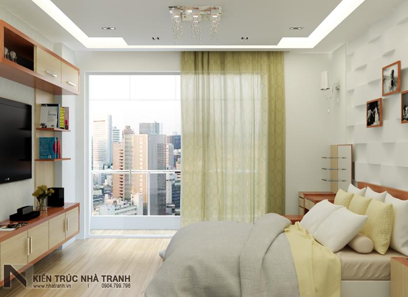 Ảnh: Phối cảnh 01 nội thất phòng ngủ bố mẹ mẫu thiết kế nội thất nhà ống hiện đại NT-NL0051