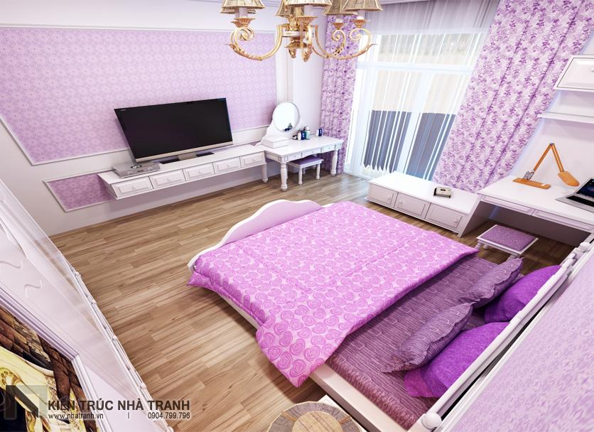 Ảnh: Phối cảnh 01 nội thất phòng ngủ con gái mẫu thiết kế nội thất nhà ống hiện đại NT-NL0051