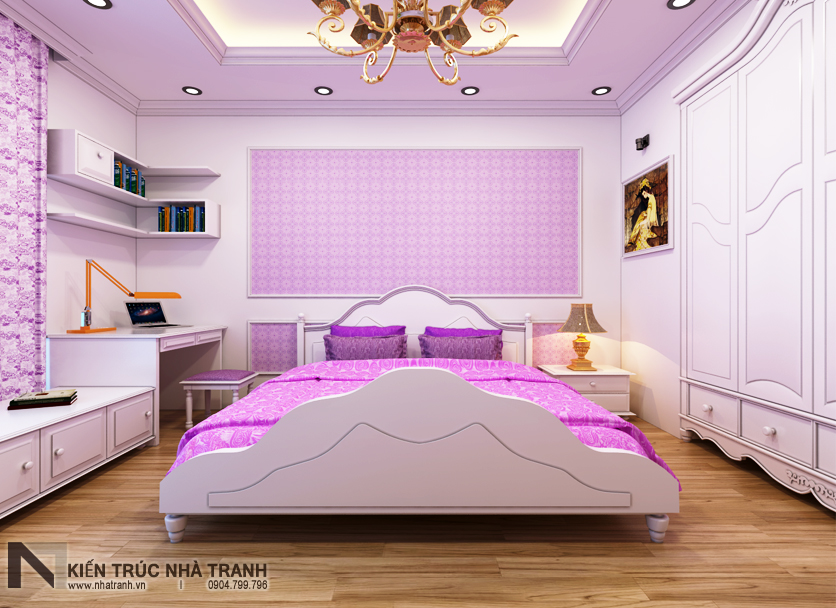 Ảnh: Phối cảnh 02 nội thất phòng ngủ con gái mẫu nhà phố mặt tiền 4m phong cách hiện đại NT-L3630