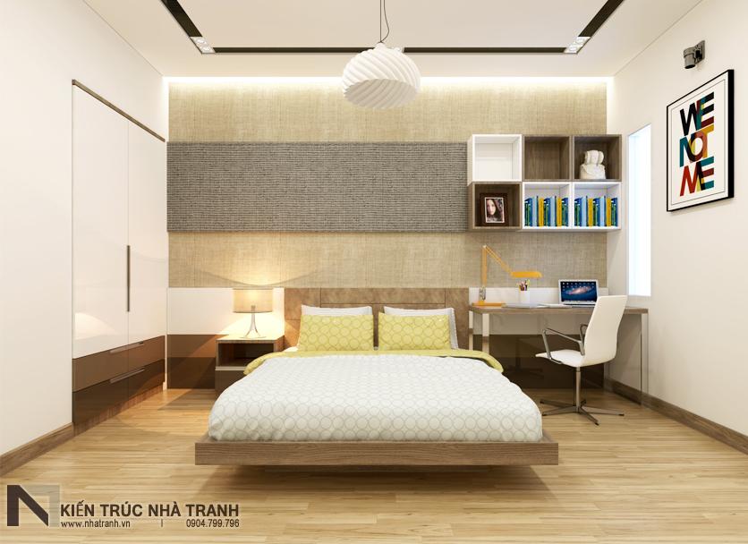 Ảnh: Phối cảnh 01 nội thất phòng ngủ con trai mẫu nhà phố mặt tiền 4m phong cách hiện đại NT-L3630