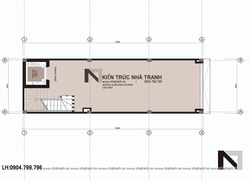 Ảnh: Mặt bằng tầng 01 mẫu nhà phố mặt tiền 4m phong cách hiện đại NT-L3630