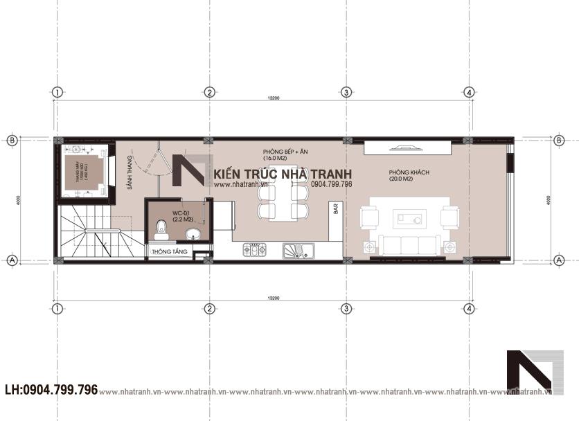 Ảnh: Mặt bằng bố trí nội thất tầng 02 mẫu thiết kế nội thất nhà ống hiện đại 5 tầng NT-NL0051