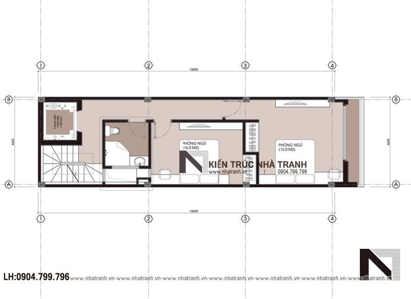 Ảnh: Mặt bằng tầng 03 mẫu nhà phố mặt tiền 4m phong cách hiện đại NT-L3630