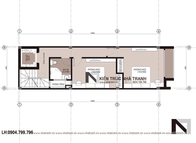 Ảnh: Mặt bằng bố trí nội thất tầng 04 mẫu thiết kế nội thất nhà ống hiện đại 5 tầng NT-NL0051