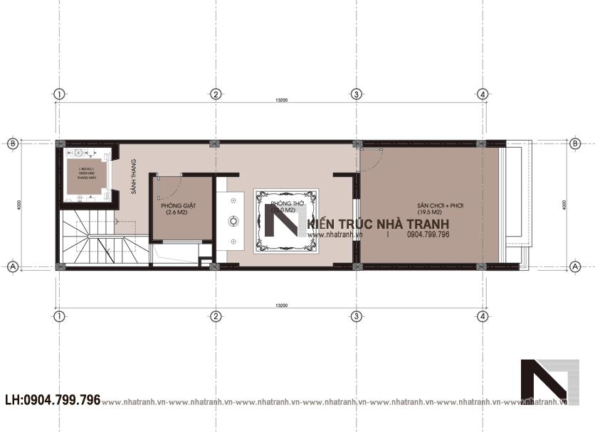 Ảnh: Mặt bằng bố trí nội thất tầng 05 mẫu thiết kế nội thất nhà ống hiện đại 5 tầng NT-NL0051