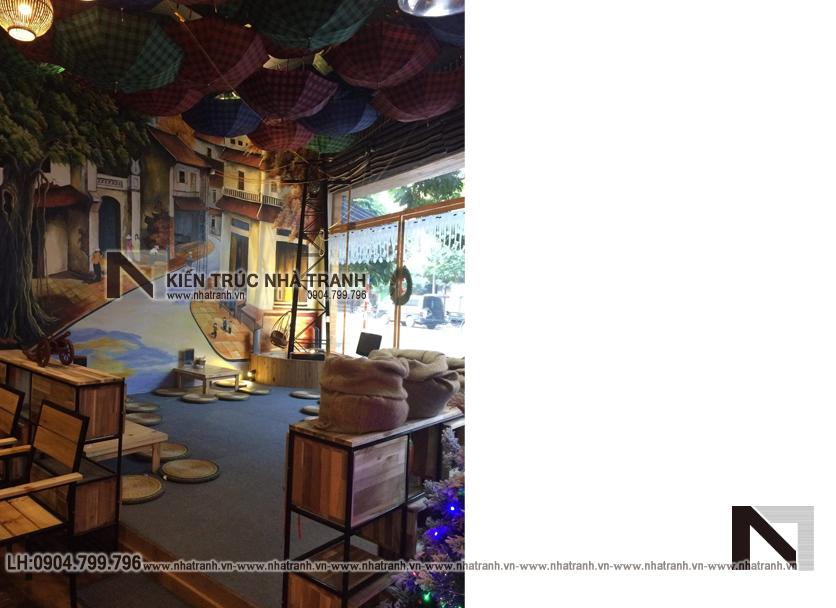 Ảnh: Hình ảnh thi công thực tế 10 không gian nội thất mẫu thiết kế nội thất quán cafe NT-NN0054