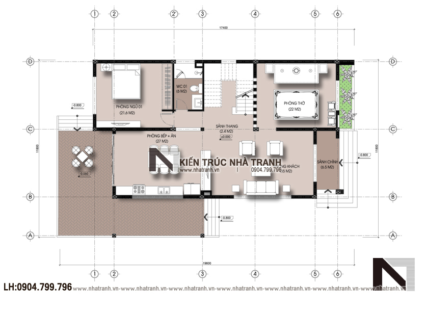 Ảnh: Mặt bằng tầng 1 dự án mặt bằng nhà biệt thự 3 tầng hiện đại NT-B6377