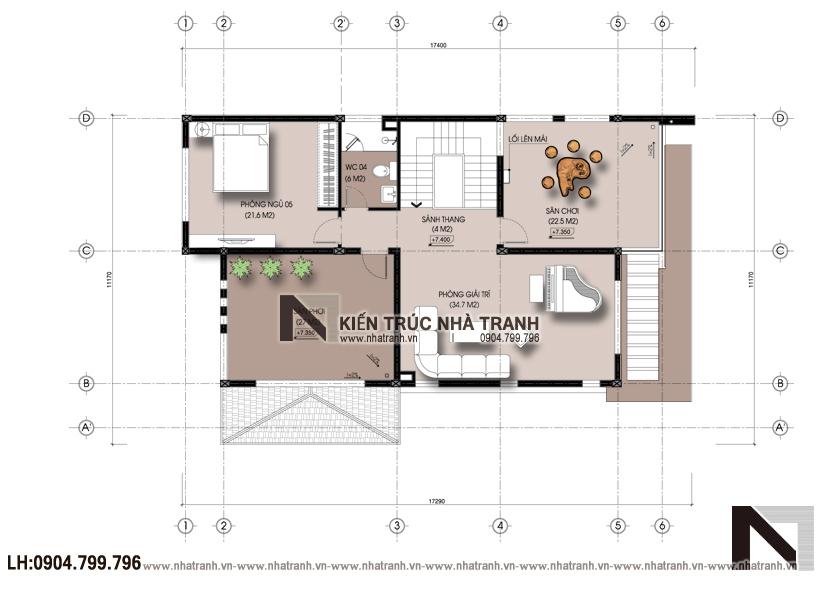 Ảnh: Mặt bằng tầng 3 dự án mặt bằng nhà biệt thự 3 tầng hiện đại NT-B6377