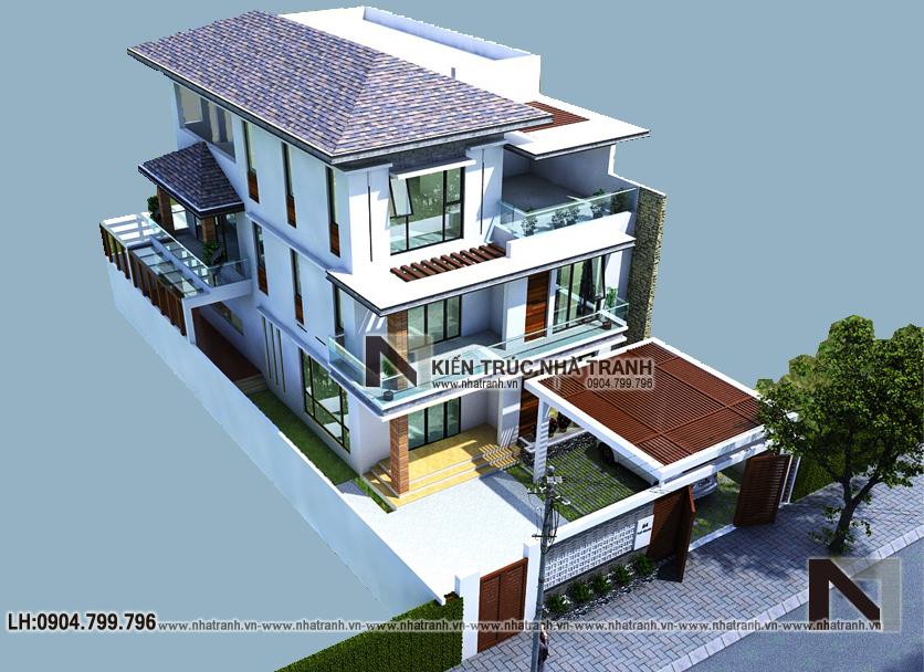 Ảnh: Phối cảnh tổng thể dự án mặt bằng nhà biệt thự 3 tầng hiện đại NT-B6377