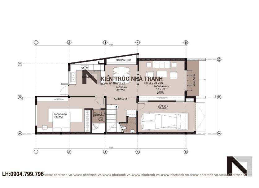 Ảnh: Mặt bằng bố trí nội thất tầng 1 mẫu thiết kế nội thất biệt thự hiện đại 3 tầng NT-NB0052