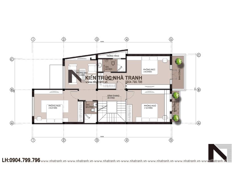 Ảnh: Mặt bằng bố trí nội thất tầng 2 mẫu thiết kế nội thất biệt thự hiện đại 3 tầng NT-NB0052