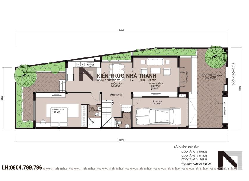 Ảnh: Mặt bằng quy hoạch tổng thể mẫu thiết kế nội thất biệt thự hiện đại 3 tầng NT-NB0052