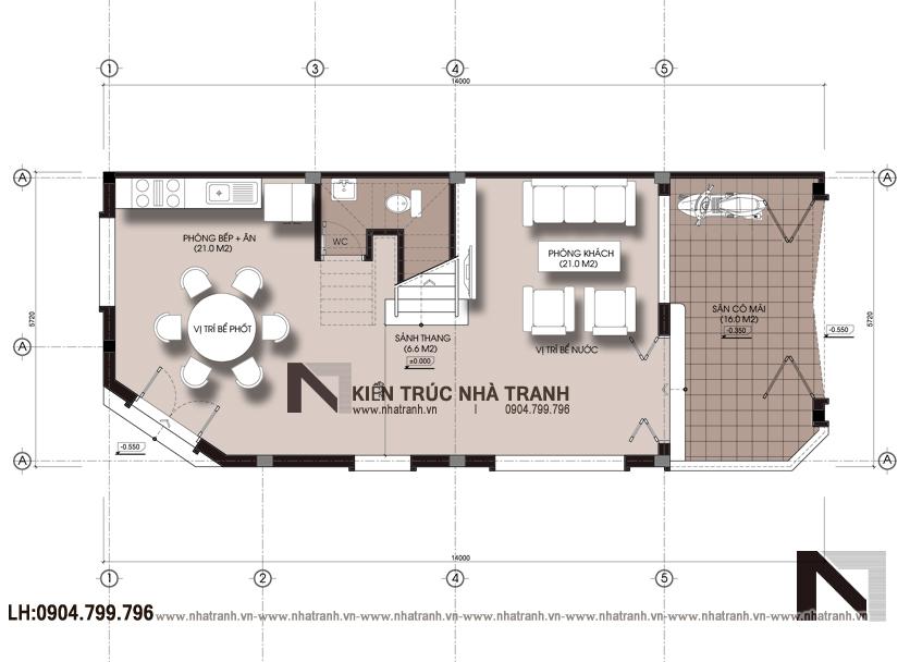 Ảnh: Mặt bằng tầng 1 mẫu nhà lô góc 3 mặt tiền 4 tầng hiện đại NT-L3658