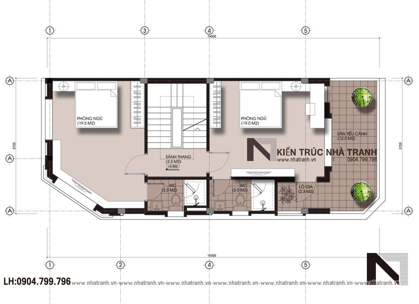 Ảnh: Mặt bằng tầng 2 mẫu nhà lô góc 3 mặt tiền 4 tầng hiện đại NT-L3658