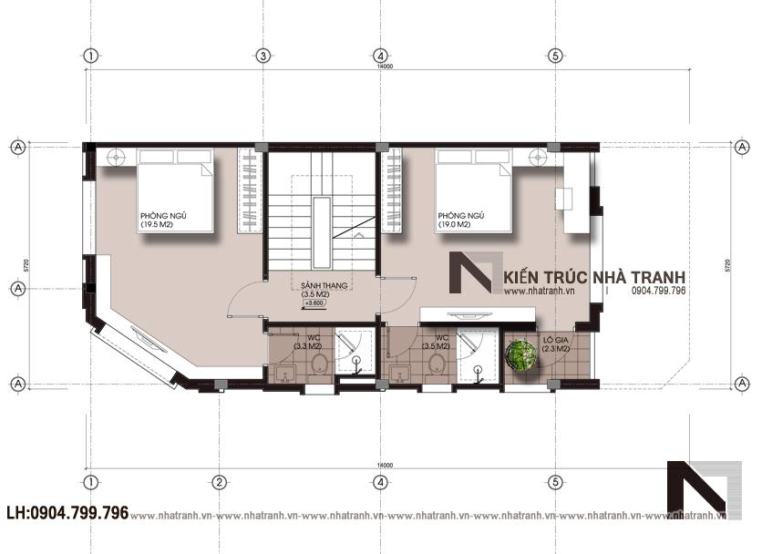 Ảnh: Mặt bằng tầng 3 mẫu nhà lô góc 3 mặt tiền 4 tầng hiện đại NT-L3658
