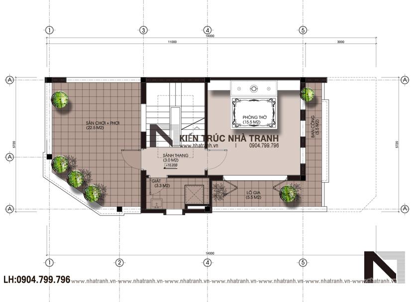Ảnh: Mặt bằng tầng 4 mẫu nhà lô góc 3 mặt tiền 4 tầng hiện đại NT-L3658