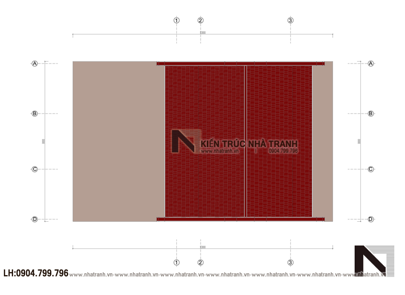 Ảnh: Mặt bằng mái mẫu thiết kế nhà thờ họ 3 gian NT-B6378