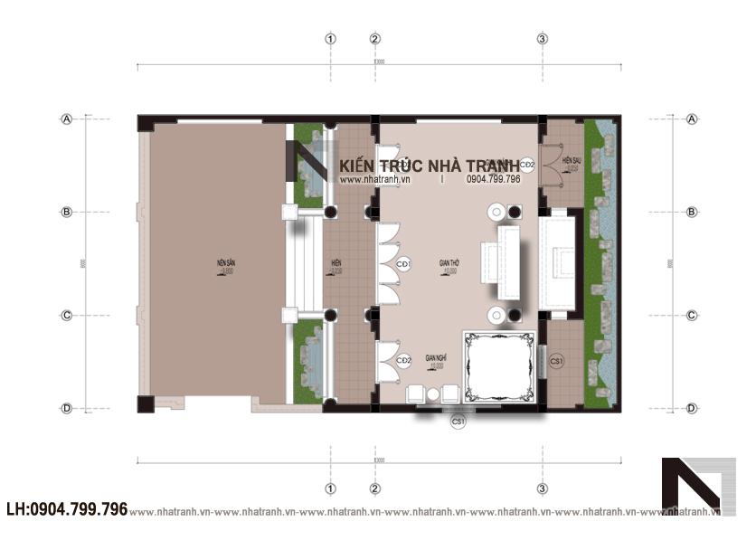 Ảnh: Mặt bằng quy hoạch tổng thể mẫu thiết kế nhà thờ họ 3 gian NT-B6378