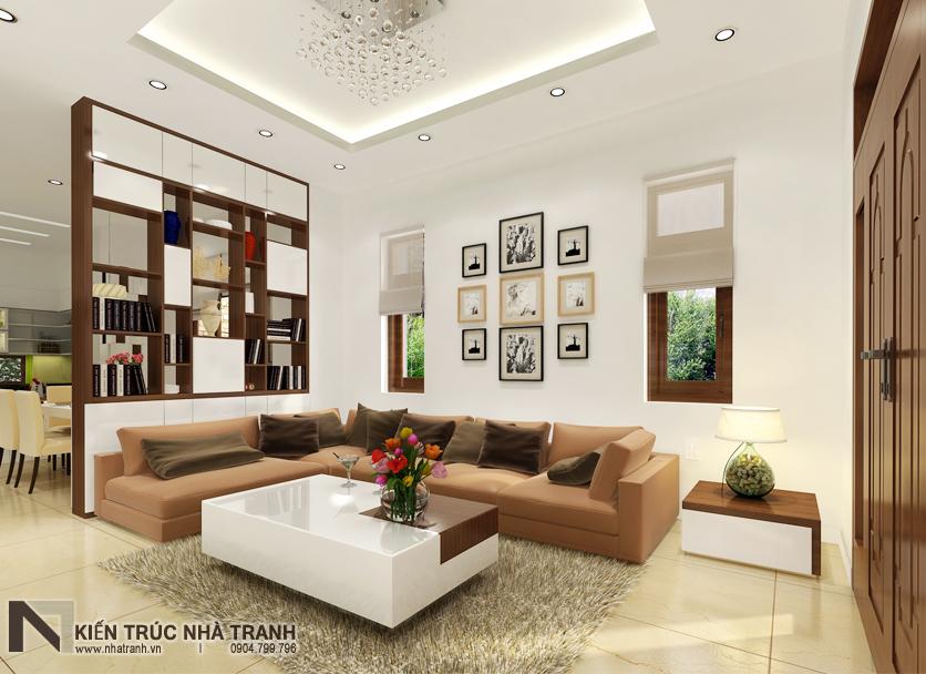 Ảnh: Phối cảnh nội thất phòng khách 02 mẫu thiết kế nội thất biệt thự hiện đại 3 tầng NT-NB0052