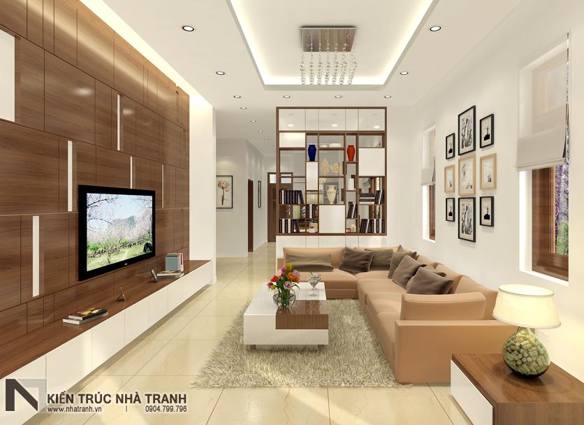 Ảnh: Phối cảnh nội thất phòng khách 01 mẫu thiết kế nội thất biệt thự hiện đại 3 tầng NT-NB0052